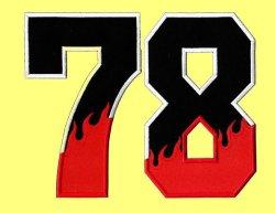 画像4: ワッペン(角) 炎・背番号(一文字)
