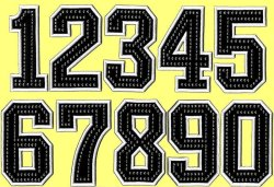 画像2: ワッペン(角)前番号ラインストーン付き(一文字)