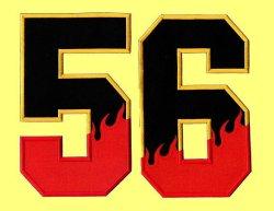 画像3: ワッペン(角) 炎・背番号(一文字)